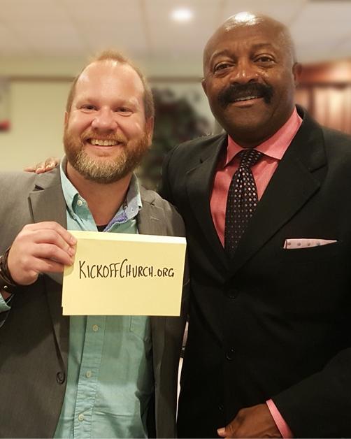 Kickoff Church founder Mark Zubert with Vikings legend Greg Coleman