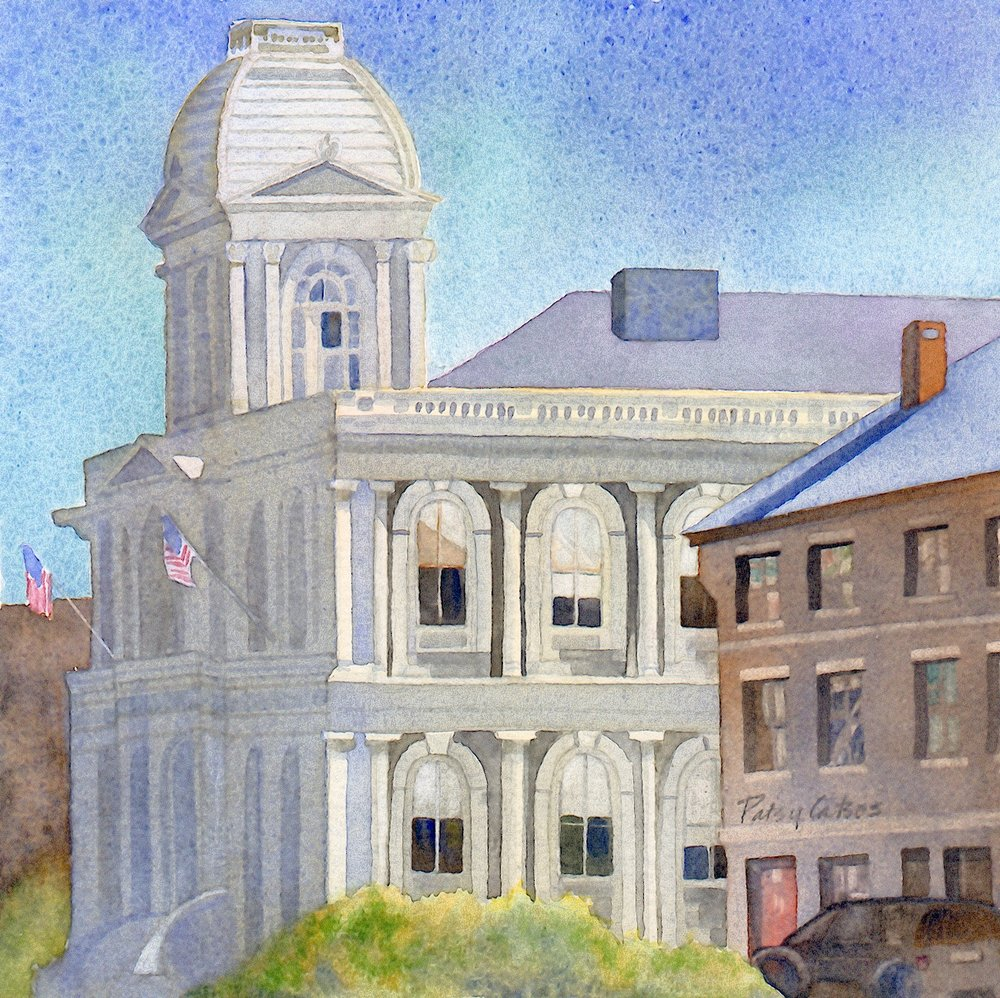 Custom House, Portland, ME, 2003. One of a series of 25 paintings of Portland landmarks, with watercolors, on a particular type of watercolor paper, all 6-inch square, and framed similarly. Choosing to work within this set of parameters was liberating.