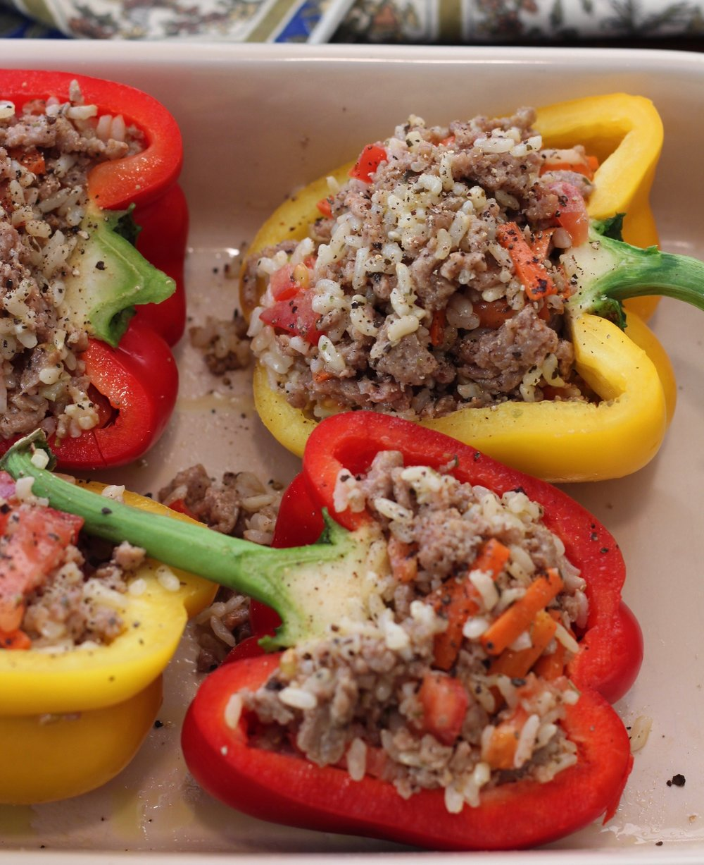Stuffed peppers ready for the oven.