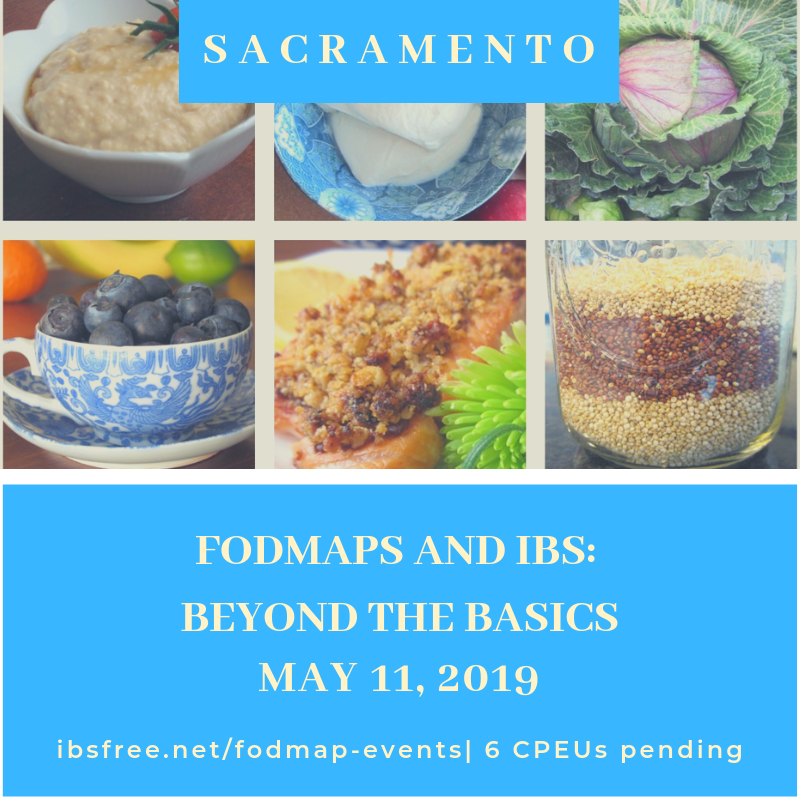 Patsy Catsos, MS, RDN, LD presents an interactive workshop for healthcare providers in Sacramento on May 11, 2019. This 6 CPE training will have you on your way to becoming a FODMAP expert!