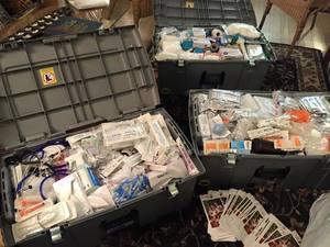 Stacking up on medical supplies! -