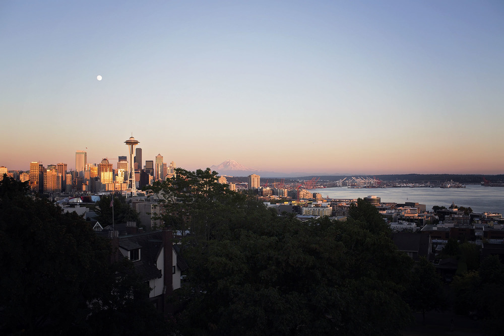 Space Needle and the moon - Seattle, WA