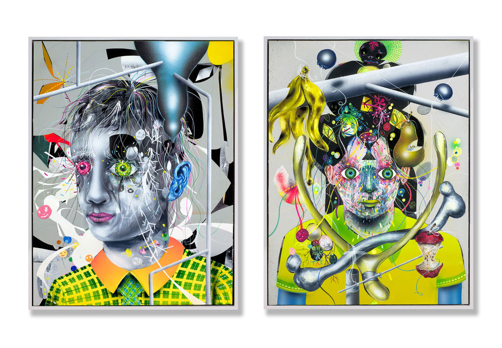 Distilling  (L)  Forging Wilting Wishes  (R)  2013  16 x 20 in  Mixed media on wood panel
