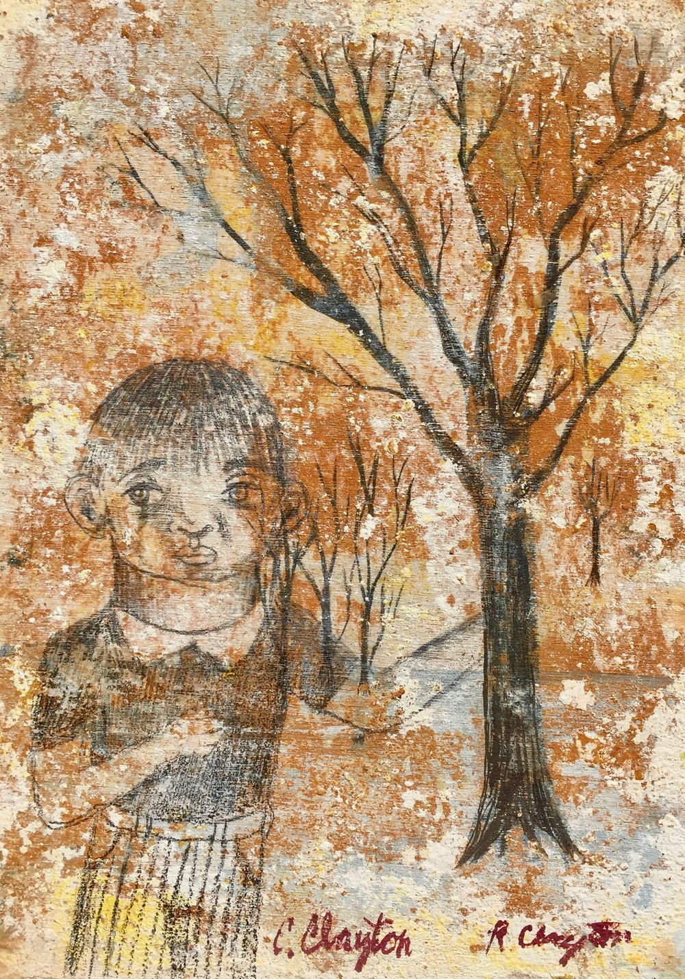 Untitled,   (Boy in forest)   Mixed media on wood panel  2001  5 x 7 In  $1200.00