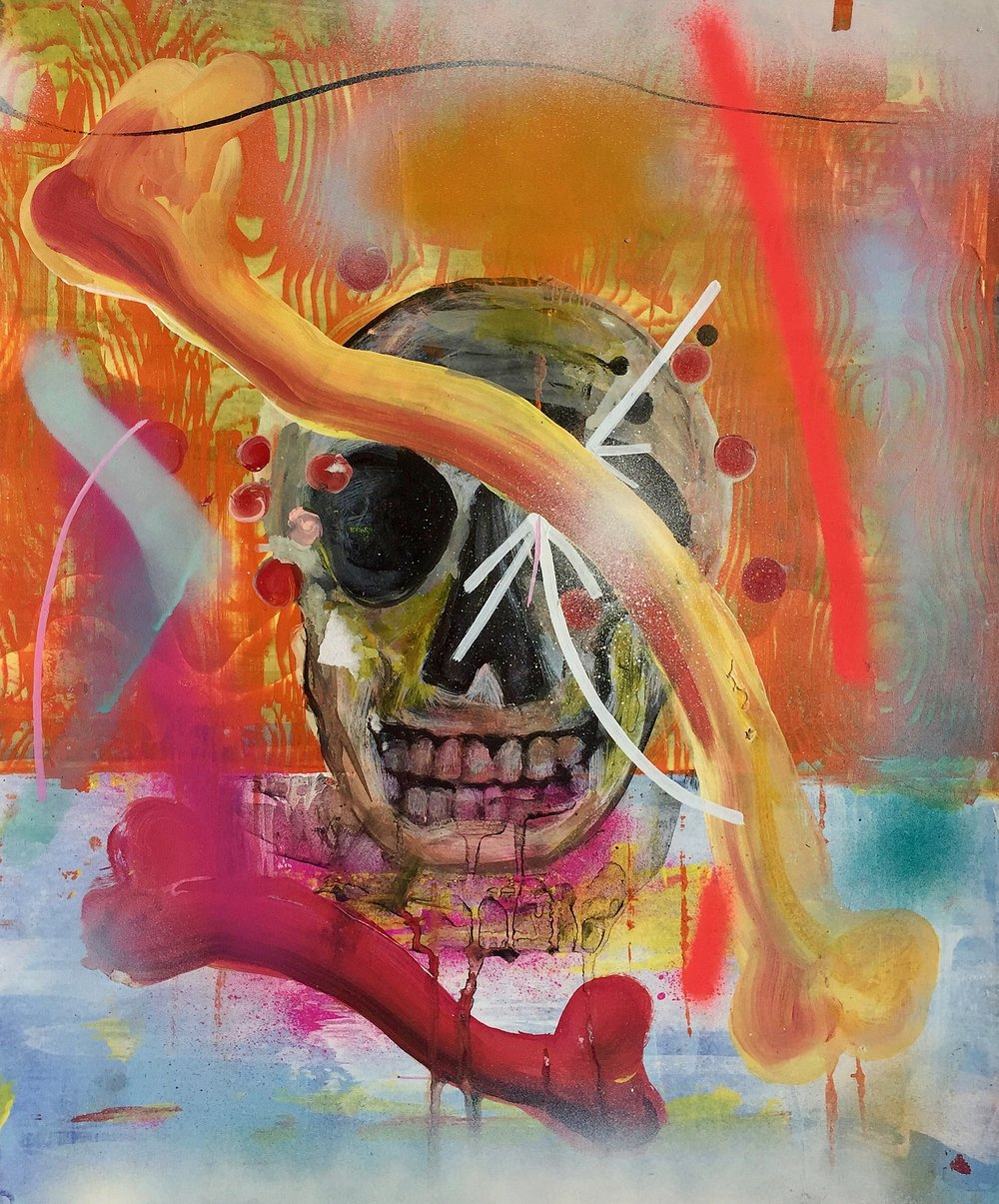 Skull & Bones     Mixed media on paper  2007  14 x 17 In  $3,000.00