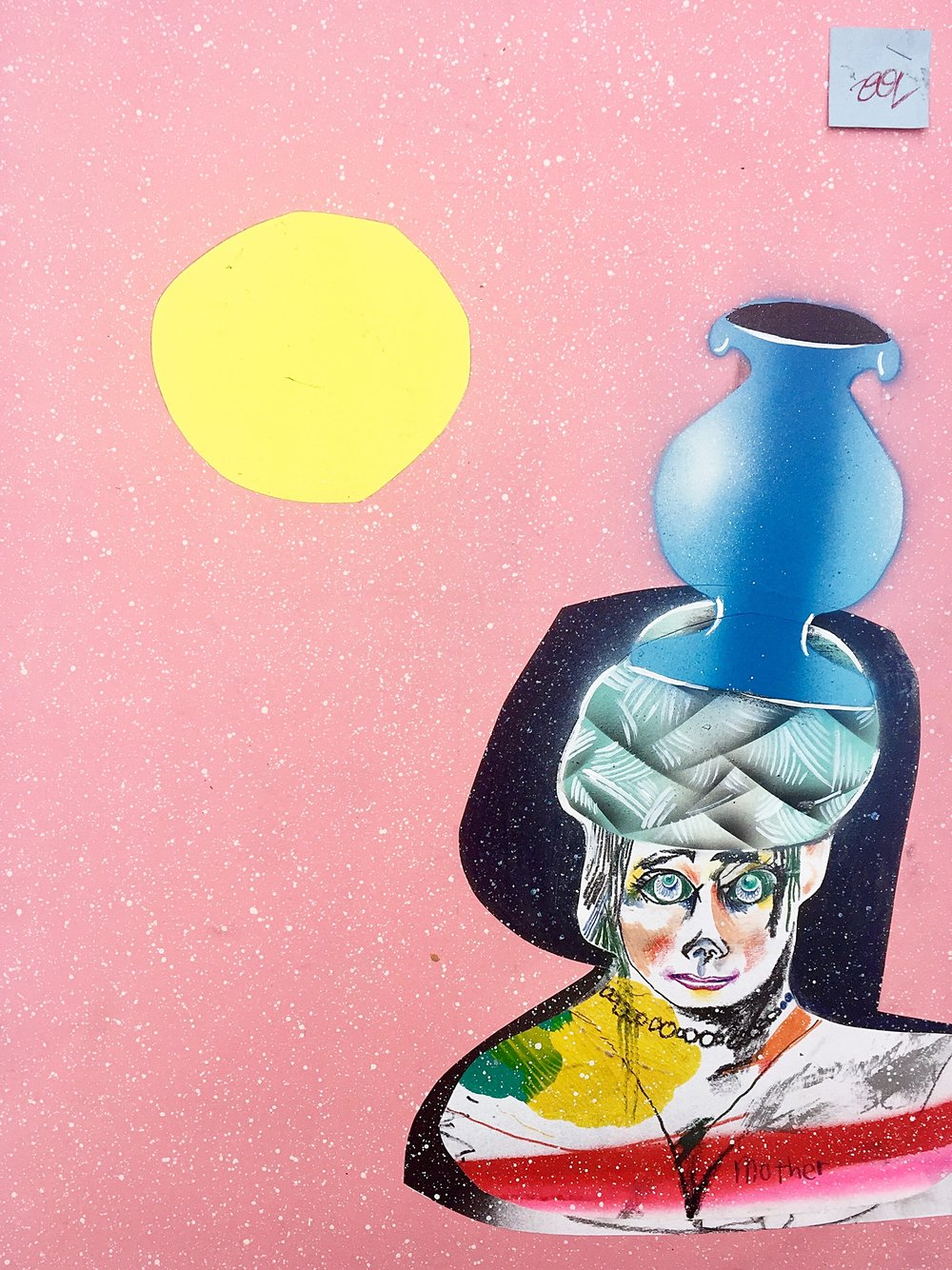 Untitled   (Blue vase on head)  Mixed media on paper  2001  19 x 24 In  $4,500.00