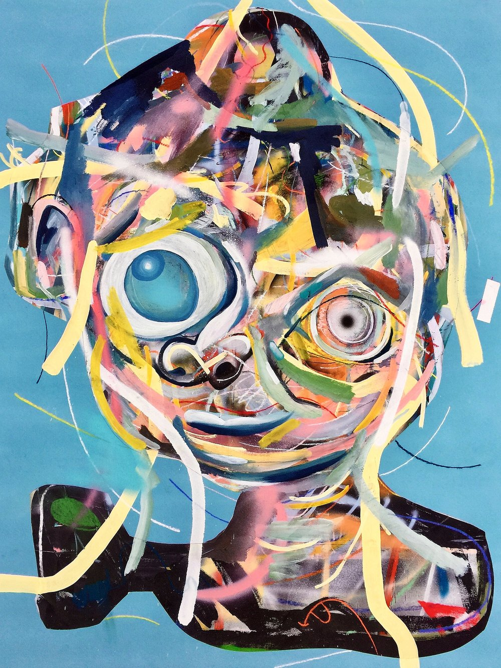 Clayton Brothers    Untitled   (Blue face)  Mixed media on paper  2015  38 x 50 In  $9,000.00