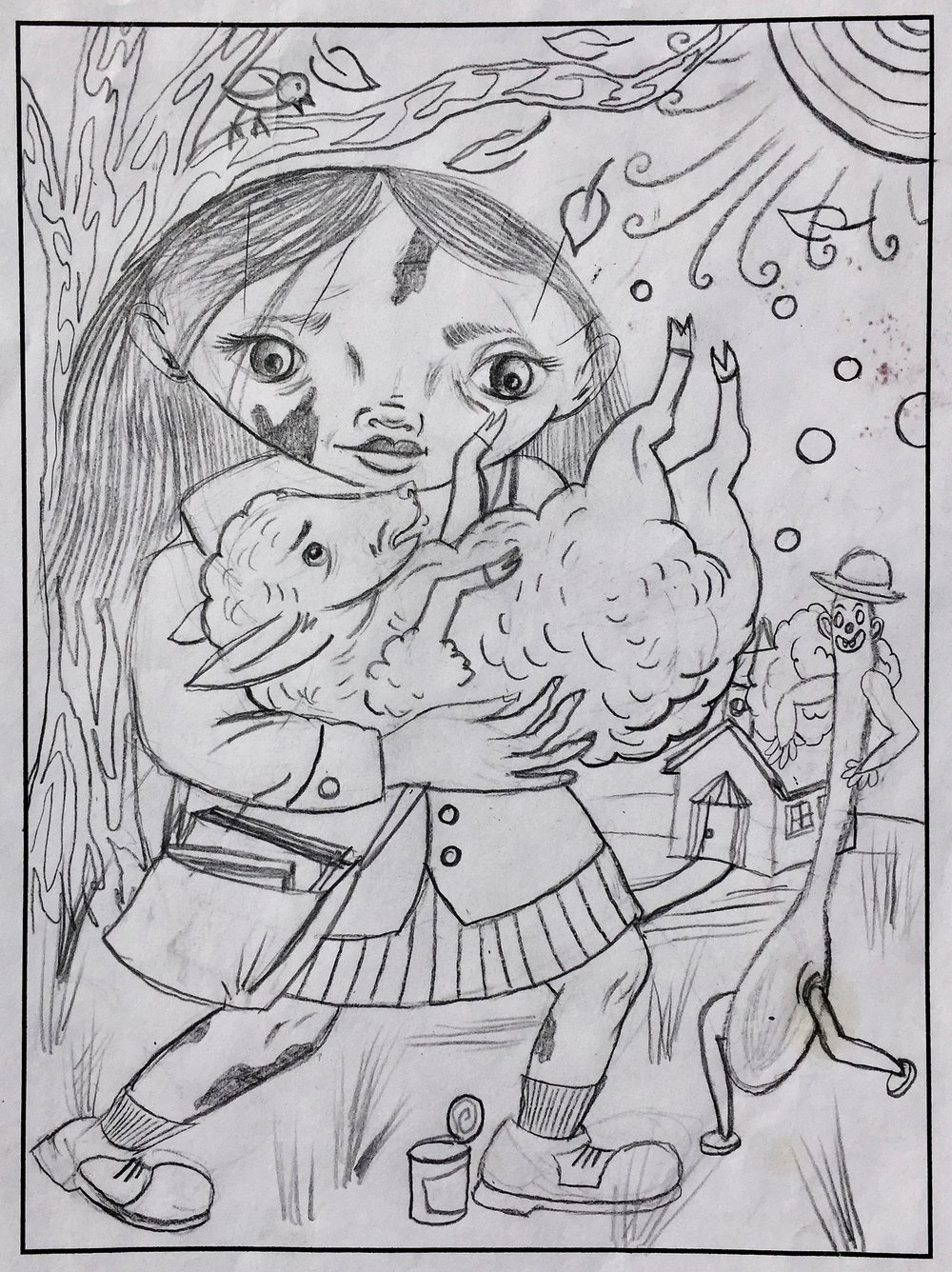 Untitled  , (Curds Girl with Sheep)   Graphite on paper  2003  6.5 x 8.75 In  $800.00