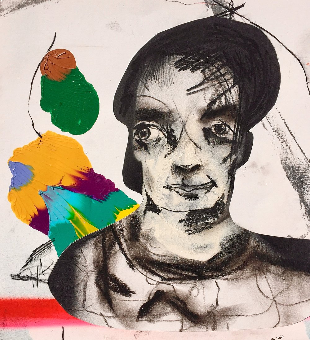 Untitled  , (portrait of a man)   Mixed media on paper  2013  11 x 12 In  $2,500.00