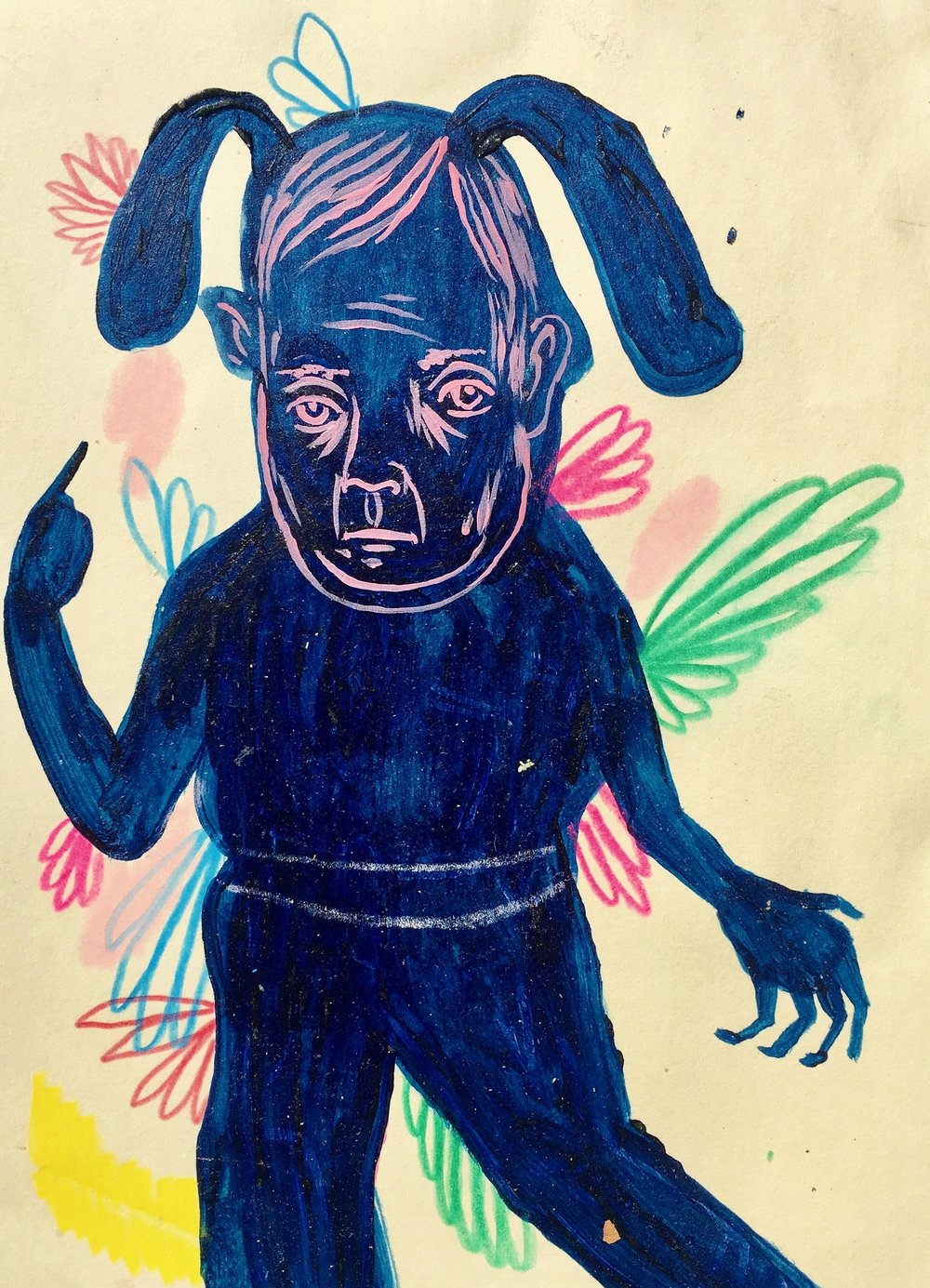 Untitled,   (Blue boy with big ears)   Mixed media on paper  2008  5 x 7 In  SOLD