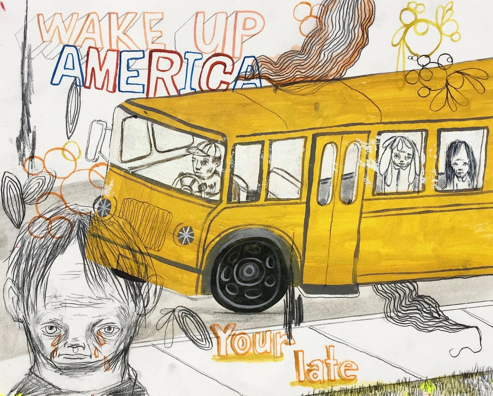 Wake Up America     Mixed media on paper  2005  10 x 8 In  $2,000.00