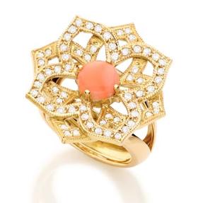 Anel Taj Mahal   Ouroamarelo18k, Coral Podangee diamantes