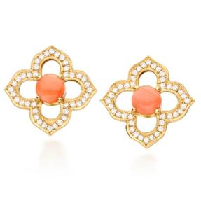 Brincos Taj Mahal   Ouroamarelo18k, Coral Podangee diamantes  R$ 6900,00  Cod. LM7MBRTAJP