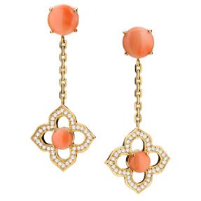 Brincos Taj Mahal   Ouroamarelo18k,Coral Podangee diamantes