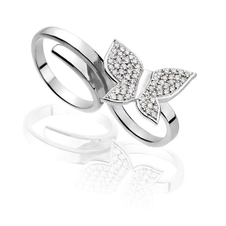 Anel Duplo Borboleta   Ouro branco 18k e diamantes  R$ 5300,00  Cod. LMFTANDBO