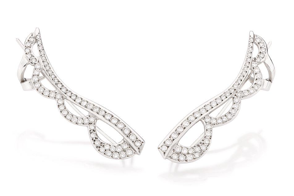 Brinco Nuvola   Ouro branco 18k e diamantes  R$ 5800,00  Cod. LMFTBRNUV