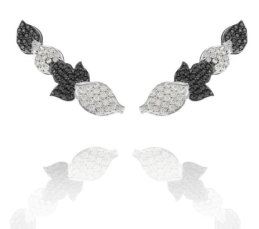 Earcuff Folha Negra   Ouro branco 18k com ródio negro, diamantes e diamantes negros