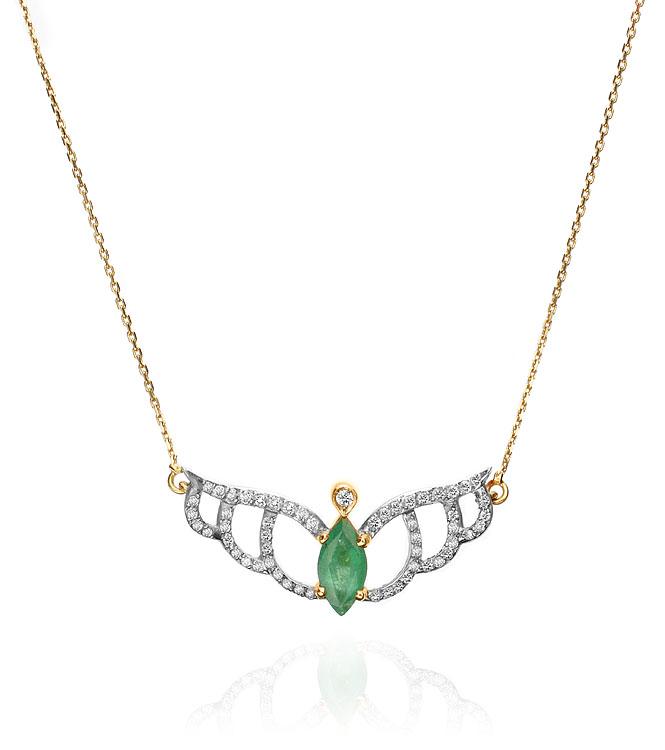 Colar Divino   Ouro amarelo 18k, diamantes e esmeraldas