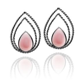 Brincos Monterosso   Prata com ródio negro e madre pérola rosa  R$ 540,00  Cod: LMALBRMTR