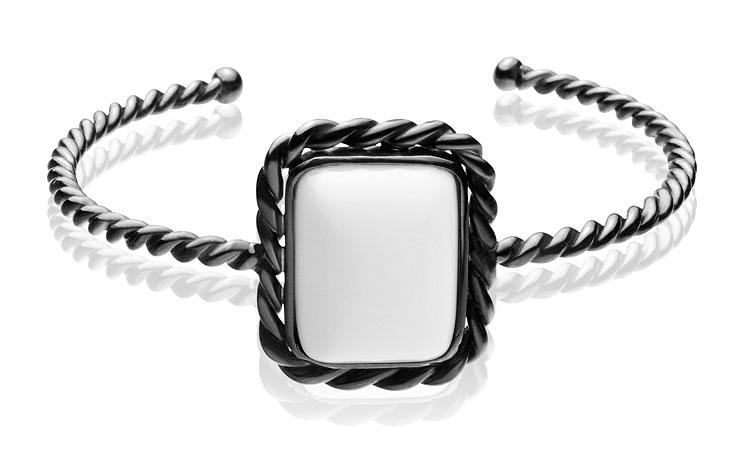 Bracelete Positano   Prata com ródio negro e ágata branca  R$ 530,00  Cod. LMALBRAPO