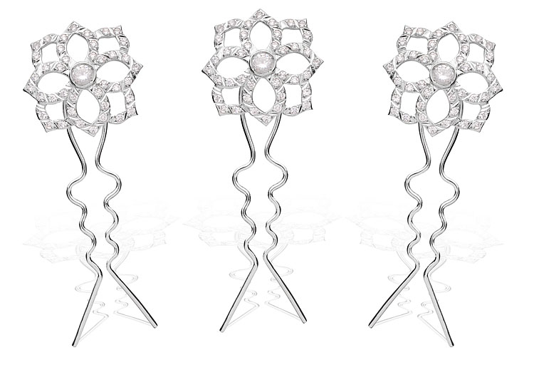 Grampos Fiori Prata e cristais