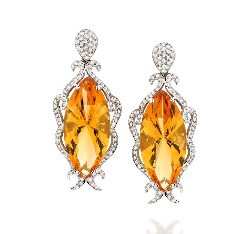 Brinco Fiamma   Ouro branco 18k, citrinos e diamantes  Preço sob consulta  Cod. LMFTBRFIA