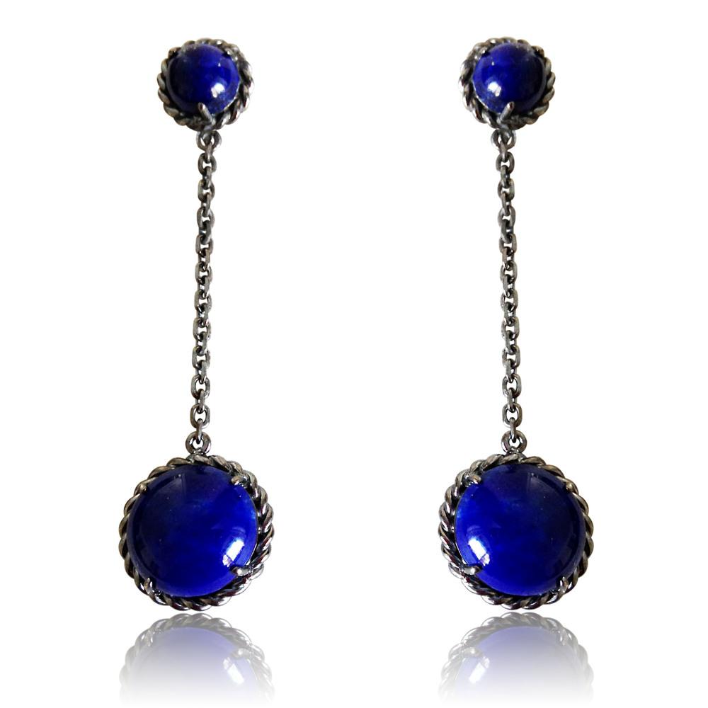 Brinco Capri   Prata com ródio negro e lápis lazuli  R$ 620,00  Cod. LMALBRCAP