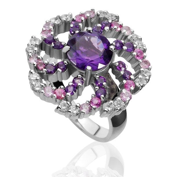 Anel Via Láctea     Ouro branco 18k, ametistas, safiras rosa e diamantes    R$ 5900,00    Cod. LMFTANVL