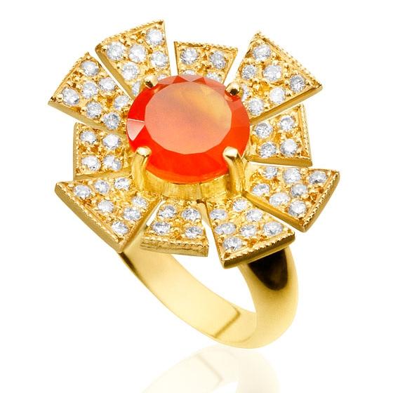 Anel Solari     Ouro amarelo18k, cornalina e diamantes    R$ 5900,00    Cod. LMFTANSO