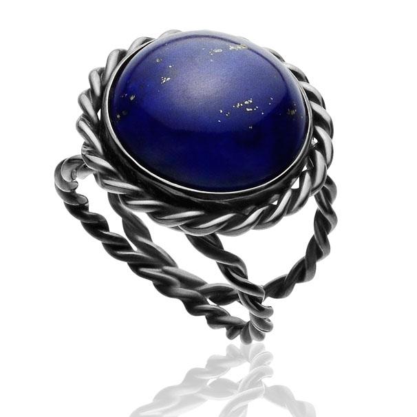 Anel San Vito    Prata com ródio negro e Lapis Lazuli    R$ 450,00    Cod. LMALANSV2