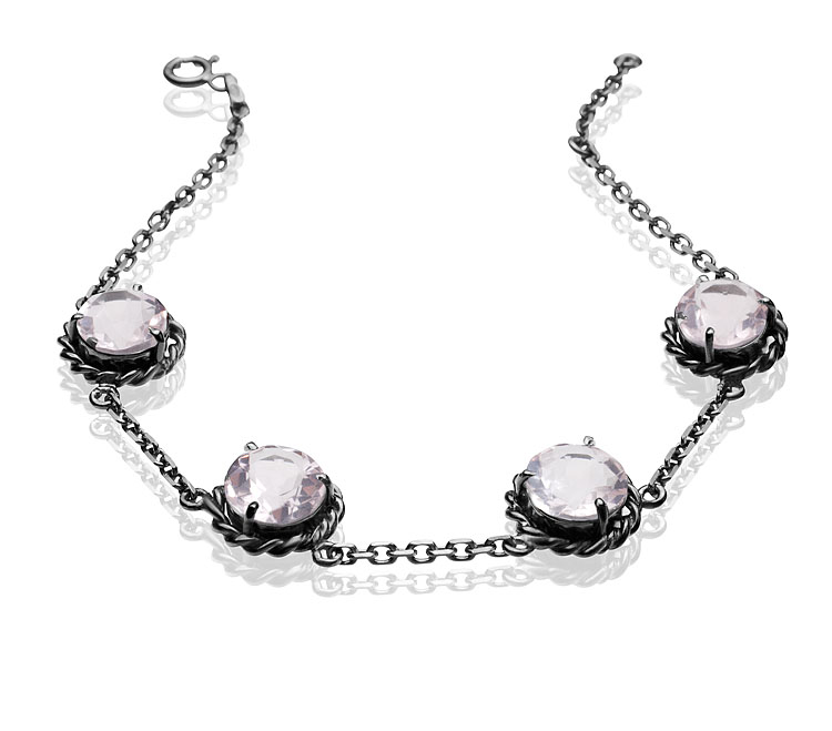 Pulseira Vernazza Prata com ródio negro e quartzo rosa R$ 720,00 Cod. LMALPUVER