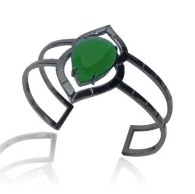 Bracelete Palenque   Prata com ródio negro e jade  R$ 540,00  Cod. LMMABRAPA