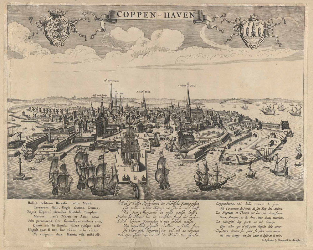 Copenhagen in the early 17th century. The new Bourse is at the centre with the harbour to the left with the Arsenal and Provision Warehouse and to the right Holmens Church and further round the ship yards and the long building of the rope works. Beyond Christiansborg, the royal castle, the line of houses marks the line of the wharves and foreshore of the medieval city ... the street now called Gammel Strand. All the major churches in the city are identified.