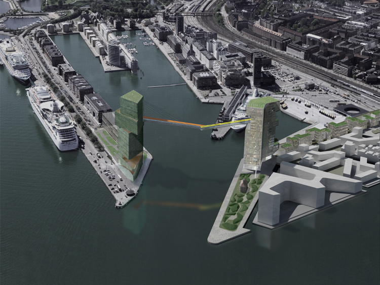 The towers proposed by Steven Holl with a high-level pedestrian walk way forming a gateway to the dock. The UN site is the building towards the bottom on the right but shown with the outline of an earlier scheme.