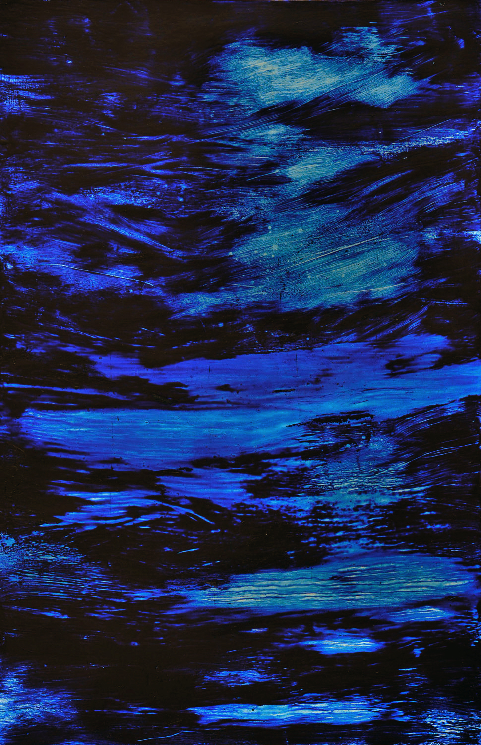 "MIDNIGHT ON THE WATER     24"" x 36"" — Oil over aluminum silver leaf on panel    $2800.00"
