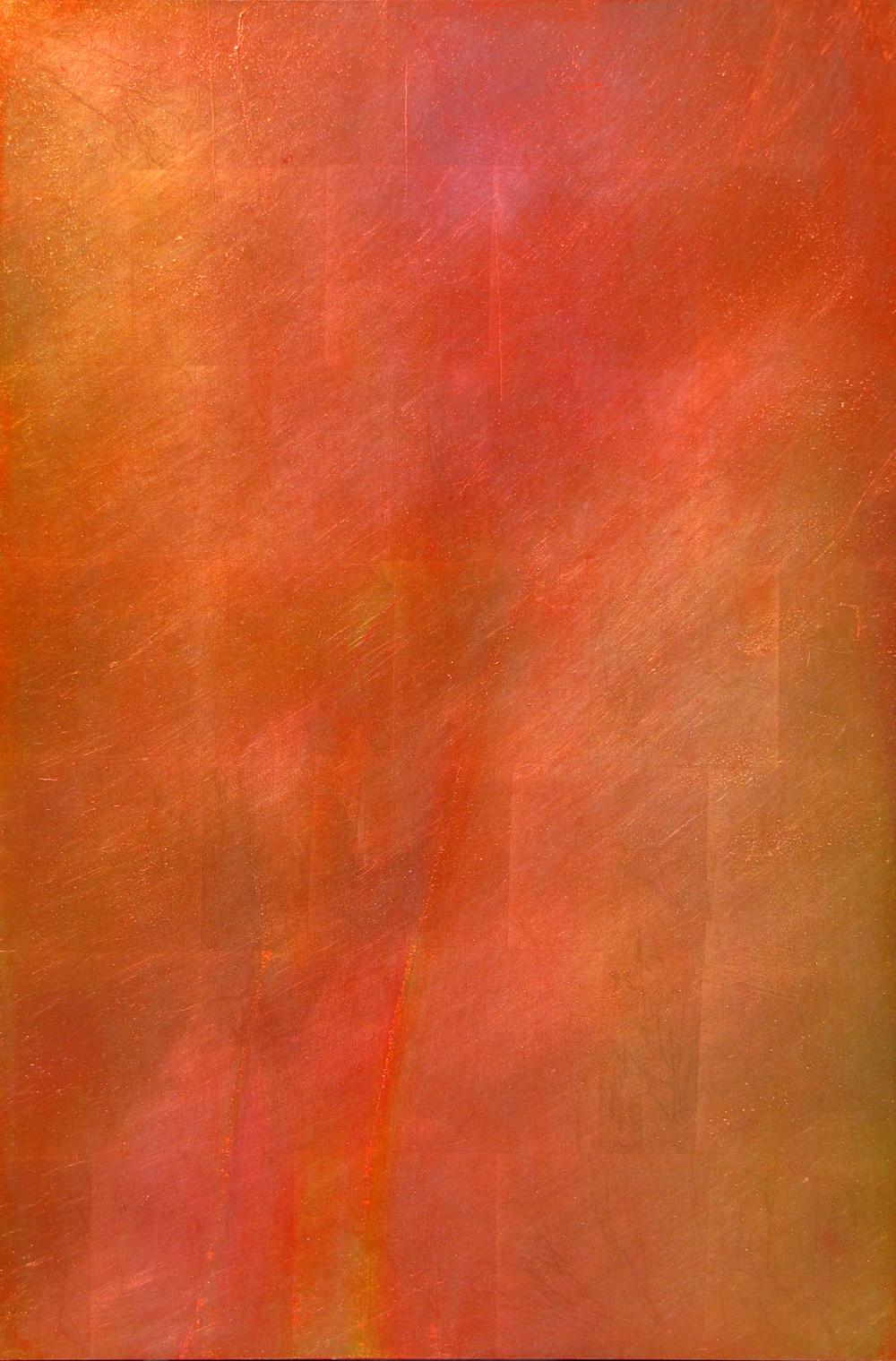 "TRUMPET VINE FLOWER 24"" x 36"" — Oil over aluminum silver leaf on panel $3000.00"