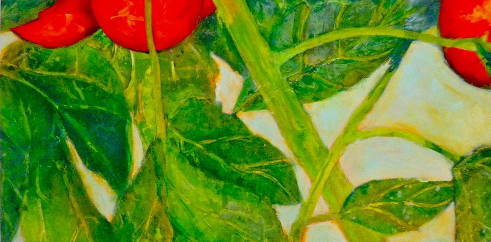 "TOMATO WEATHER      8"" x 16"" — Mixed media on panel    $495.00"