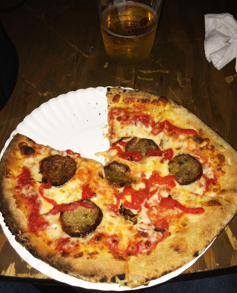 Sausage and Roasted Red Pepper Pizza from Mama Dukes