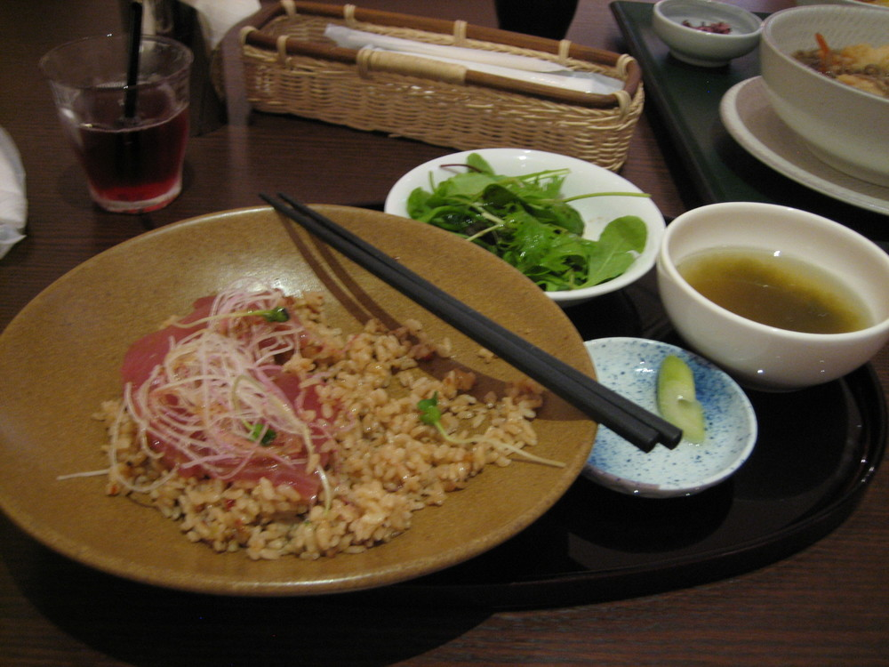Raw tuna salad at the Tokyo Food Theatre restaurant, Japan