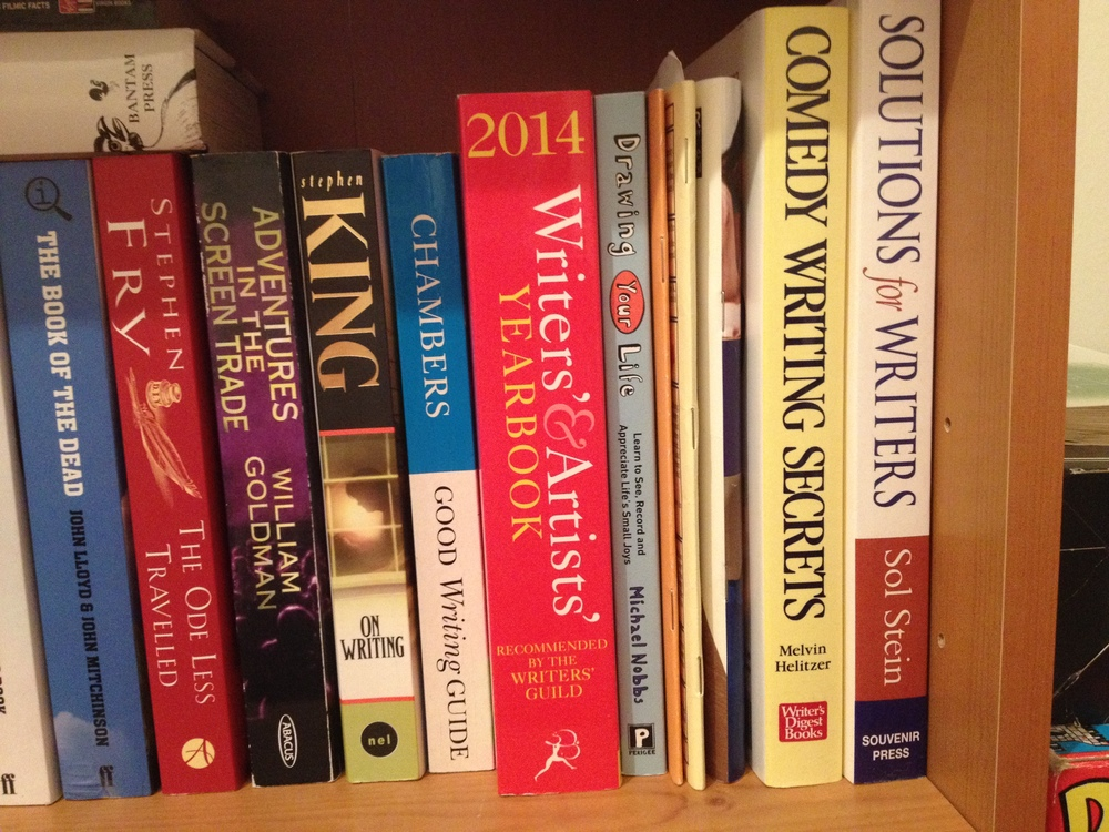 The Writing Man's bookshelf, including  The Writers' and Artists' Yearbook 2014