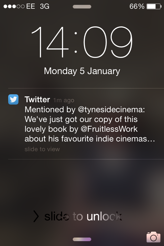 Notification of the Tyneside Cinema tweeting about  A Tour of the Indies  (photograph by Paul Forrester)