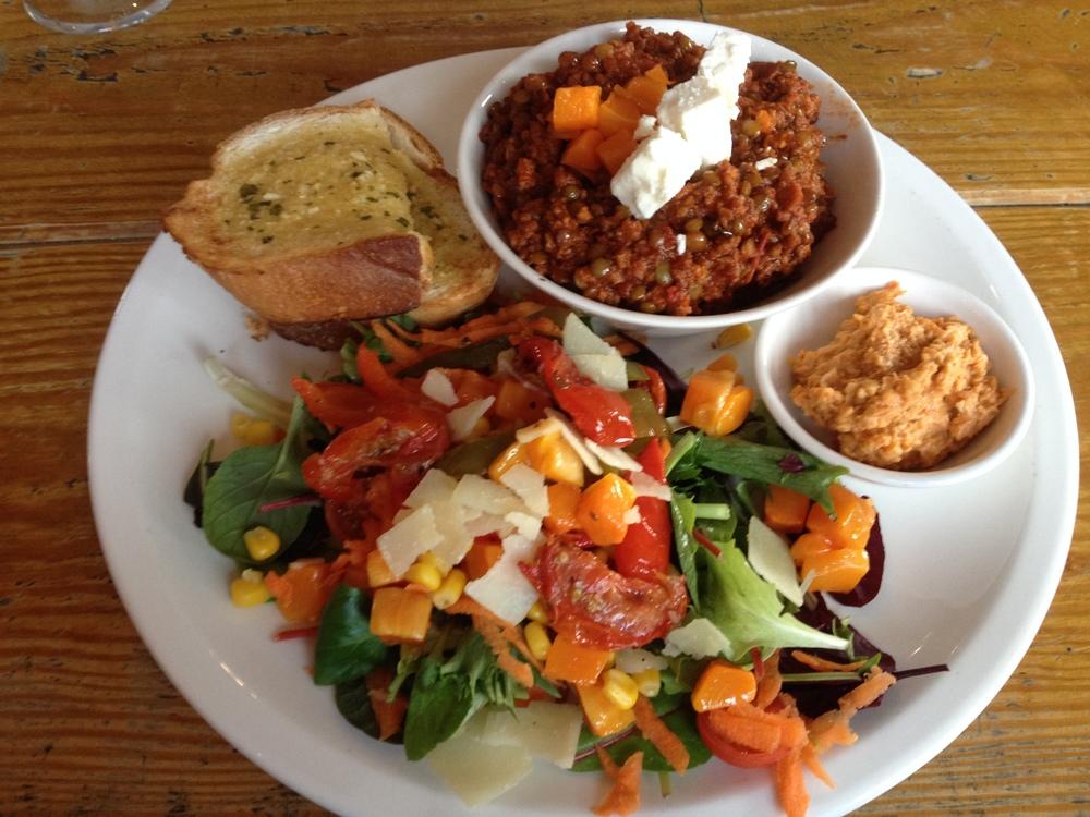 Lamb ragu, hummus, garlic bread - and a good salad! (photo by Paul Forrester)