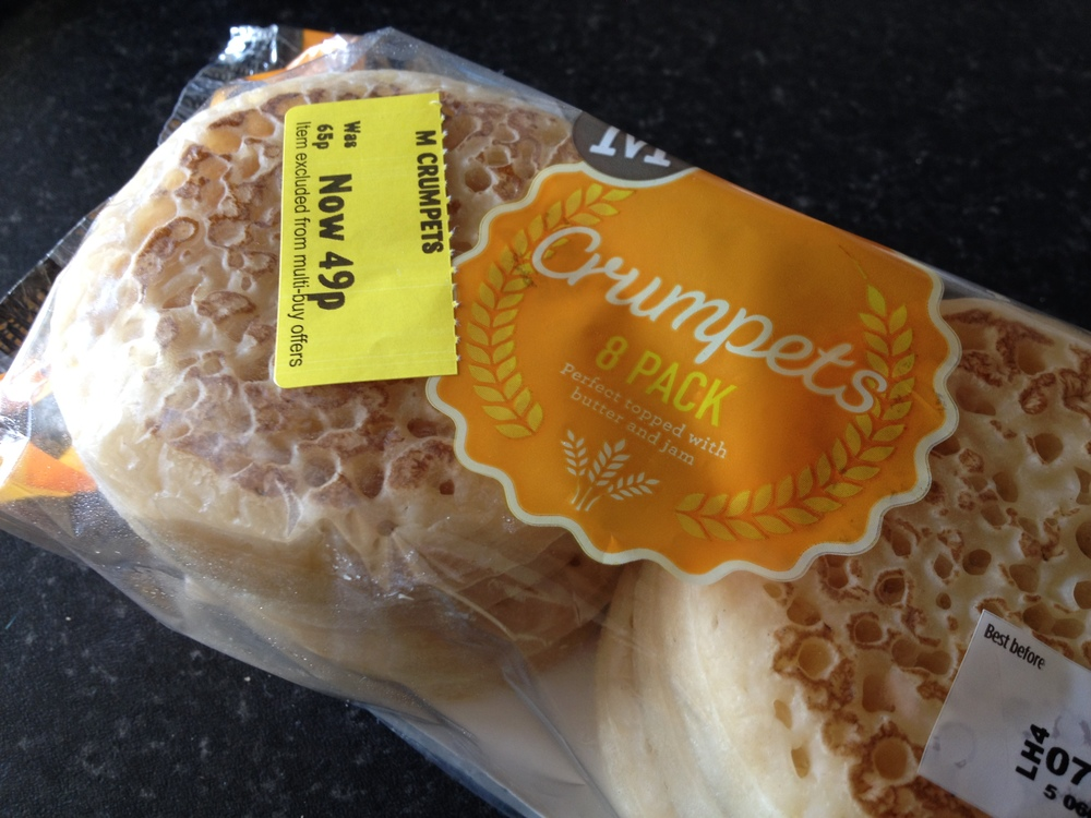 An 8-pack of Morrison's crumpets (photo by Paul Forrester)