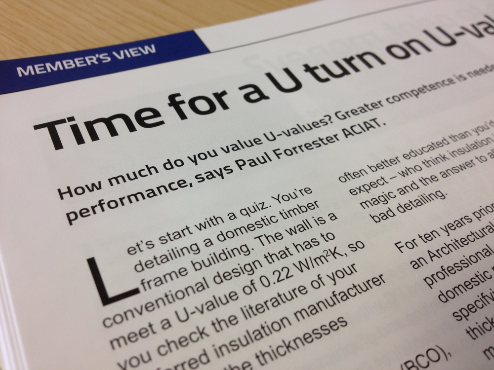 Published article about U-values in AT magazine.