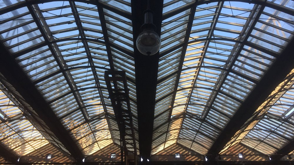 The roof of Stoke rail station.