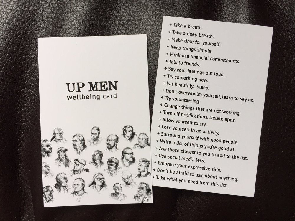 Wellbeing cards produced for Man Up, a performance by Restoke, in August 2018. Photograph by Paul Forrester.