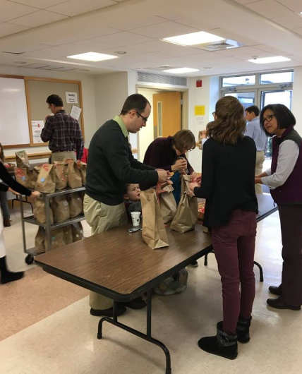Every Advent season, we gather as a parish to put together bags of potatoes. We deliver these bags to the Kennett Area Community Services. They are then placed in baskets for families in need to have a happy Christmas meal.