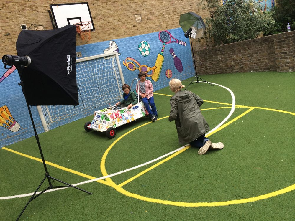 Behind scenes selfie of the Guardian photo shoot at St Saviour's C of E Primary School playground - thanks to Mr Higgins, the Site Manager for lending us the key ;-)