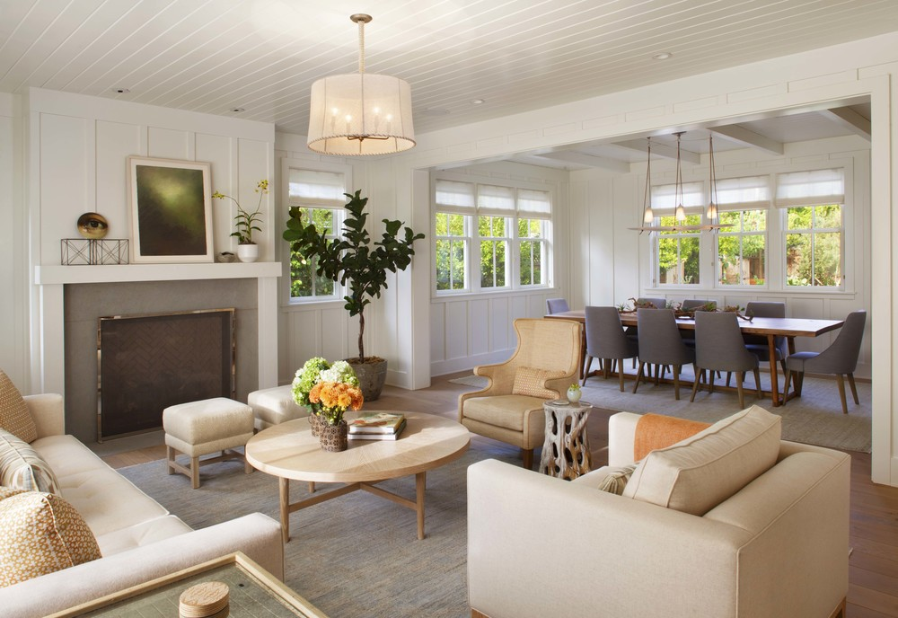 Spaces modern organic interiors for Modern farmhouse living room furniture
