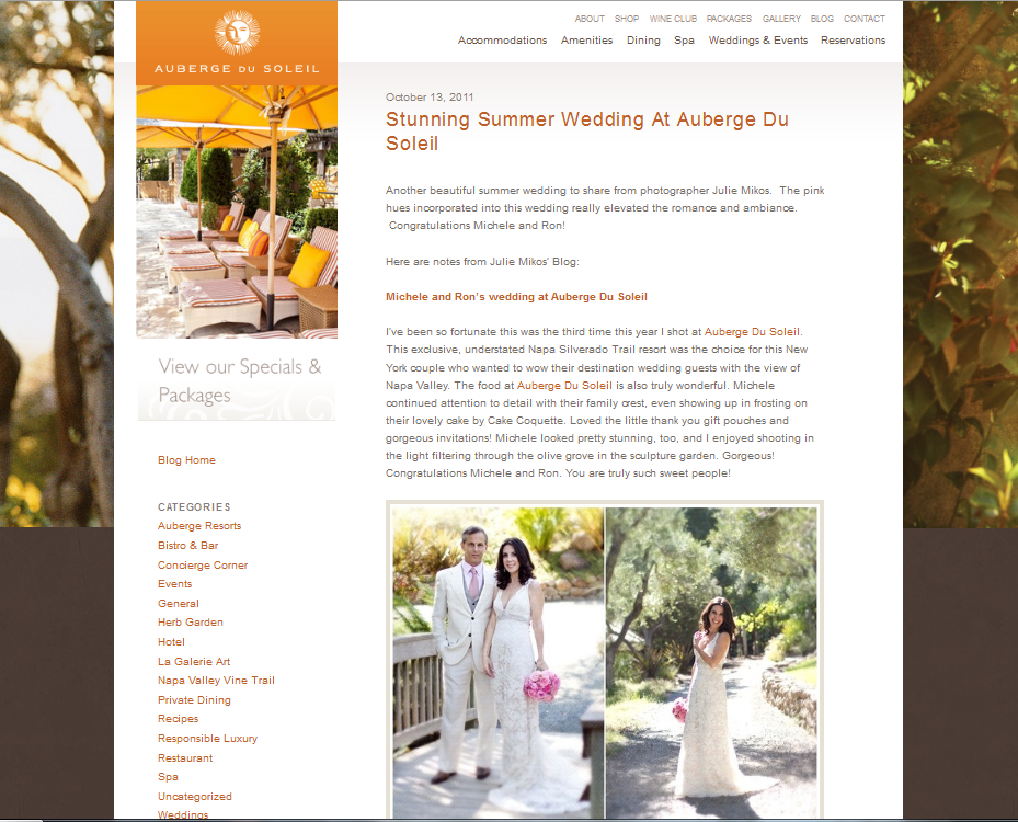 Auberge Du Soleil wedding 1